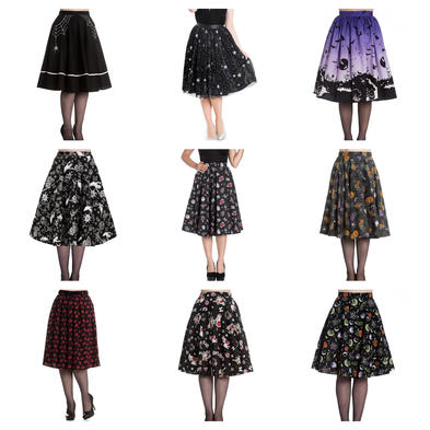 Wholesale Mixed Vintage ALTERNATIVE 50s Job Lot 10 HELL BUNNY Skirts XS 8 #2