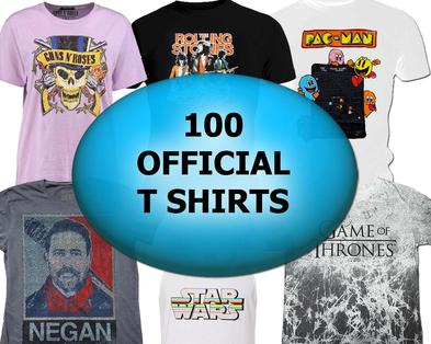 100 Wholesale Job Lot  100 OFFICIAL T SHIRTS Music TV Film Gaming Mixed