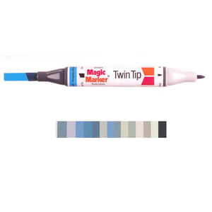Magic Marker Twin Tip Marker Pen - Grey Colours Preview