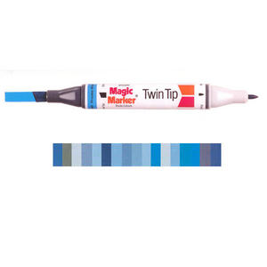 Magic Marker Twin Tip Marker Pen - Blues Preview