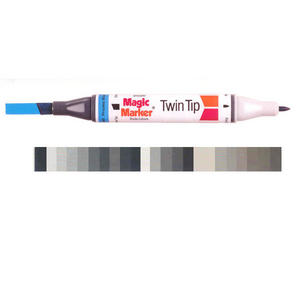 Magic Marker Twin Tip Marker Pen - Greys & Blacks Preview