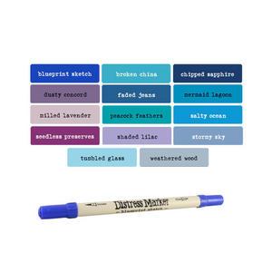 Tim Holtz Distress Ink Fine & Brush Dual-Tip Marker Pen - Blues/Purples Preview
