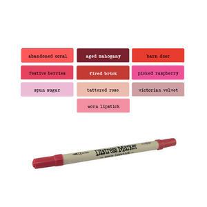 Tim Holtz Distress Ink Fine & Brush Dual-Tip Marker Pen - Pinks/Reds Preview