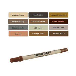 Tim Holtz Distress Ink Fine & Brush Dual-Tip Marker Pen - Browns/Blacks Preview