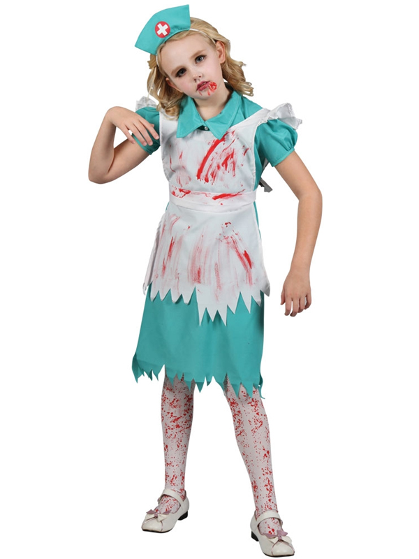Child Girls Zombie Nurse Costume