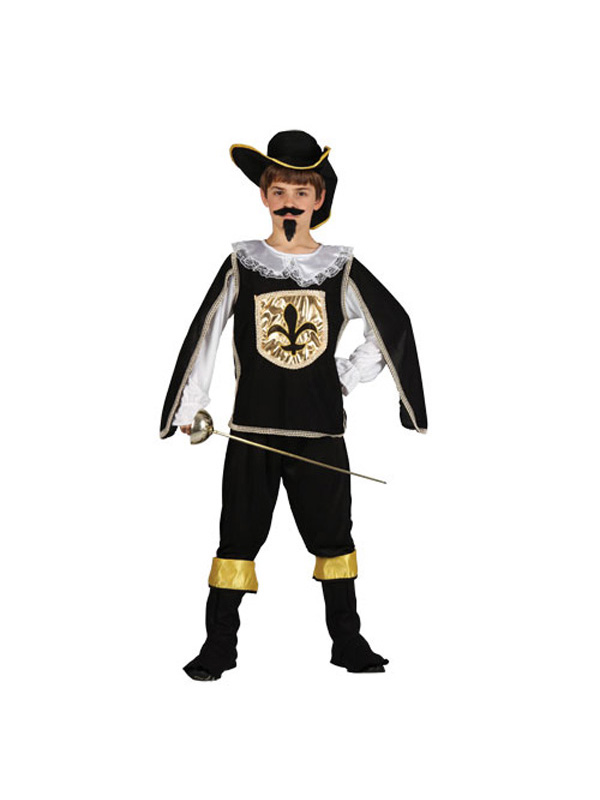 Boy's Black French Musketeer Costume