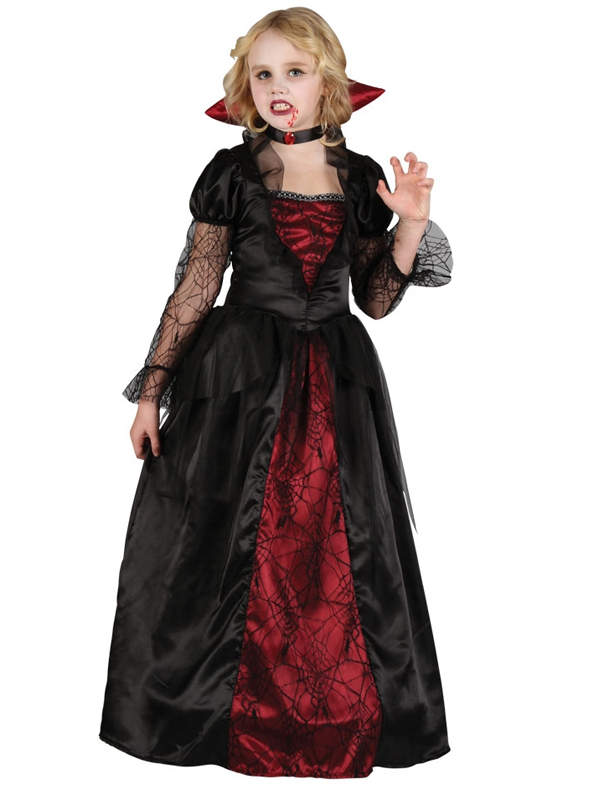 Details about Child Deluxe Gothic Vampiress Girls Fancy Dress Kids  Halloween Vampire Costume