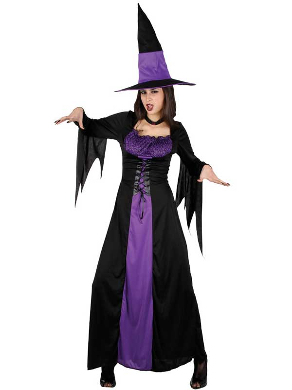Ladies Black Purple Spellbound Witch Costume