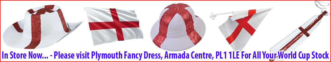 England Costumes, Flags & Accesories - Other World Cup Countries Stock Available