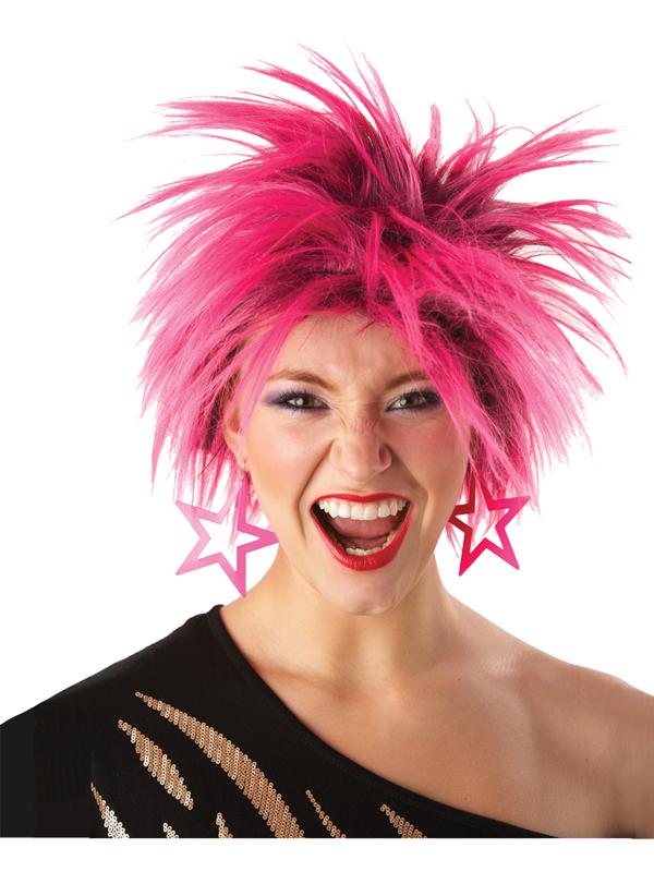 Eighties Hot Pink Spiky Wig