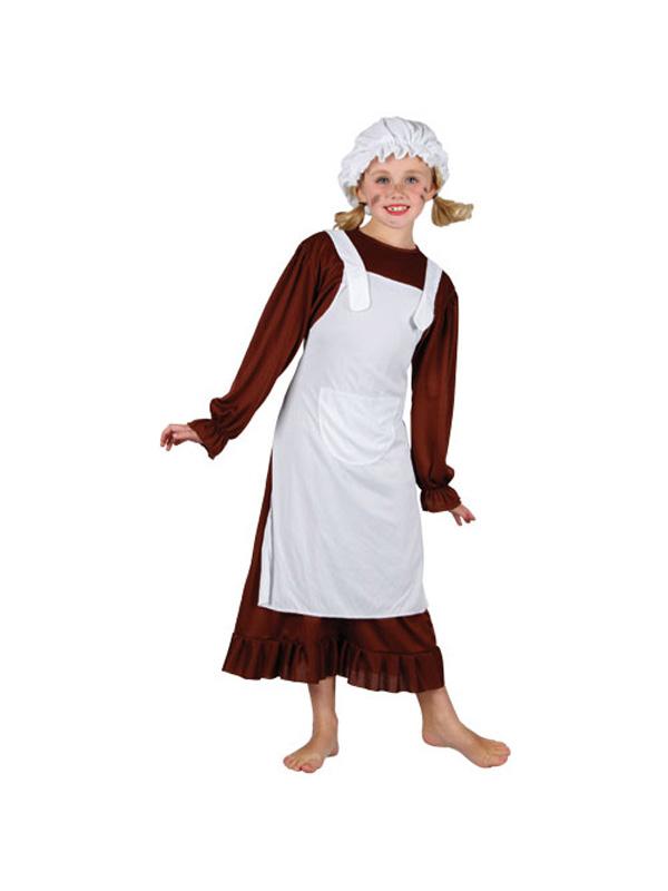 Girl's Victorian Poor Girl Fancy Dress Costume