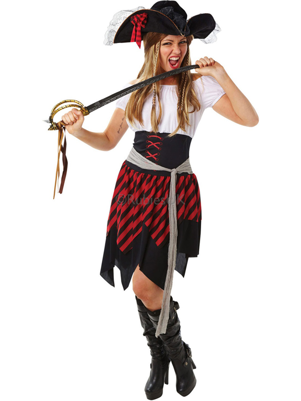 Ladies Red And Black Caribbean Pirate Costume