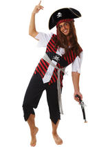 Men's Red And Black Caribbean Pirate Costume