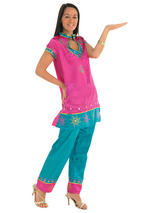 Ladies Pink And Jade Bollywood Costume