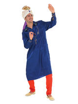 Men's Red And Blue Bollywood Costume