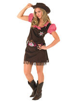 Ladies Brown And Pink Cowgirl Costume