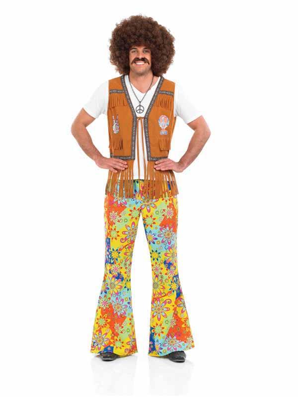 Men 39 S 60s 70s Disco Hippy Flares Flower Power 1960 39 S 1970 39 S Plymouth Fancy Dress