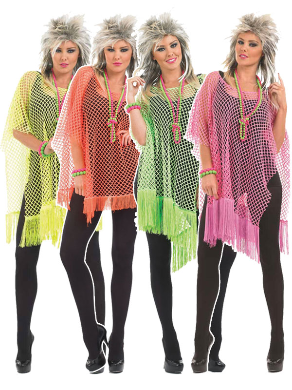 c5ba487f16d Ladies 80s Neon Fringed Mesh Net Top
