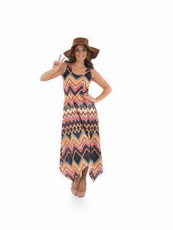 Ladies 60s 70s Zig Zag Dress & Hat