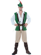 Men's Green White Robin Hood Costume