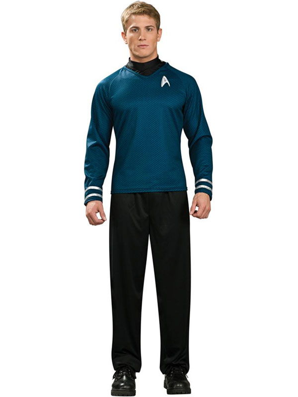 Adult Licensed Mr Spock Fancy Dress Costume Top Blue Star Trek Enterprise Mens Gents
