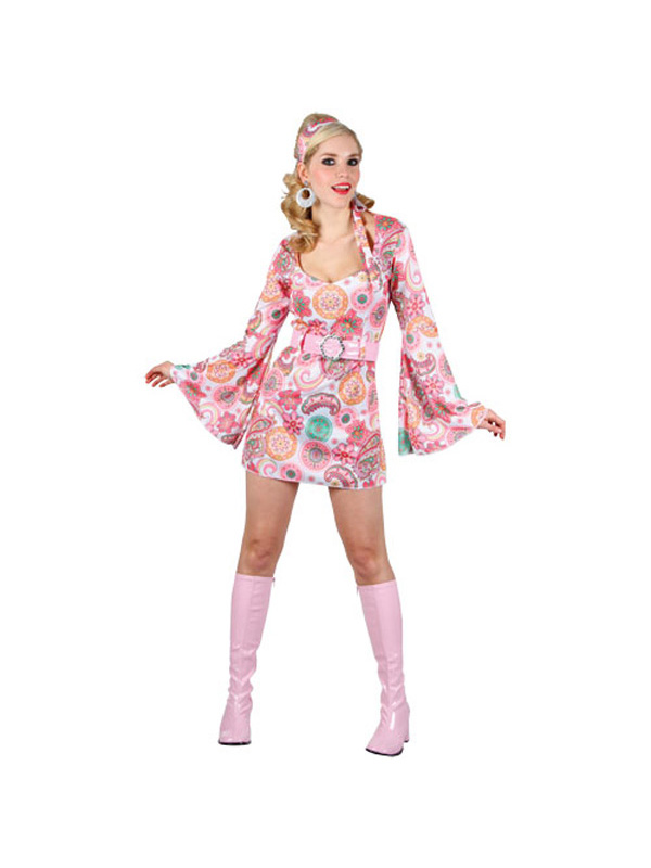 Ladies 1960s Baby Pink Hippy Girl Costume