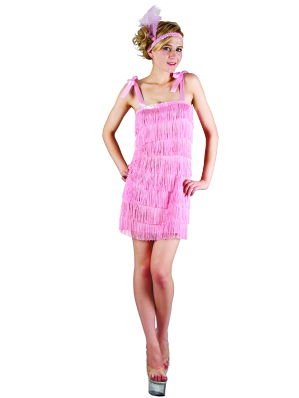 Ladies 1920s Pink Charleston Flapper Girl Costume