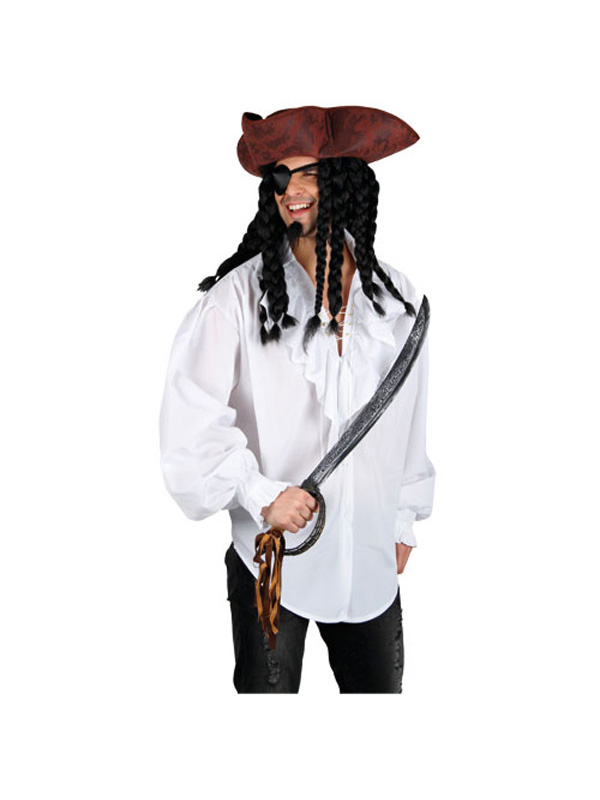White Pirate Ruffle Front Shirt