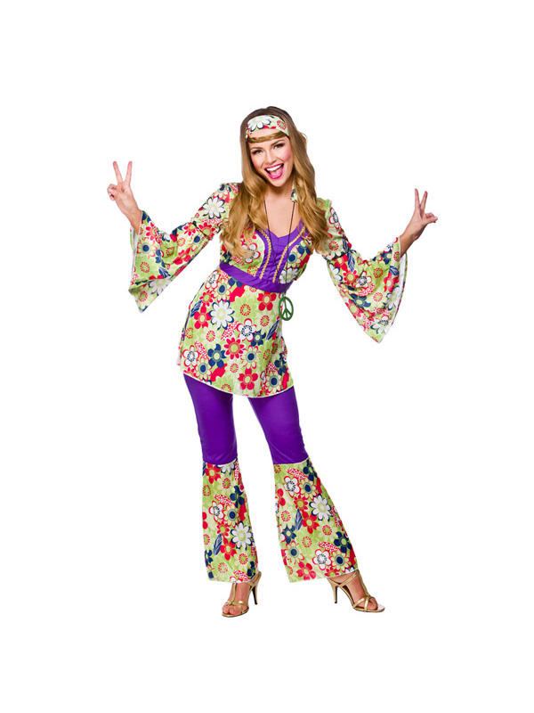 Ladies Flower Power Hippie Chick Costume Thumbnail 1