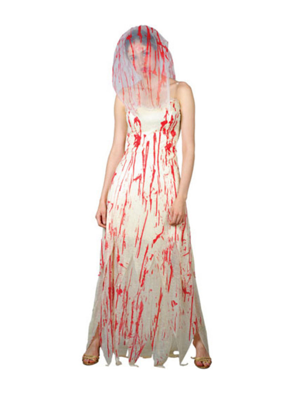 Ladies Blood spattered Zombie Bride Costume