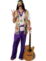 Men's 1960s Purple Flower Power Hippie Costume