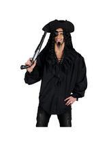 Black Pirate Ruffle Front Shirt