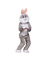 Men's Grey Rabbit Jumpsuit Costume
