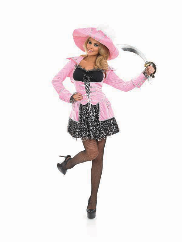 Ladies Pink Pirate Captain Outfit