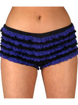 Adult Black & Purple Ruffled Pants