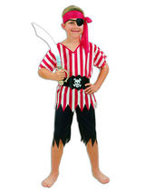 Boy's Caribbean Red And White Pirate Costume