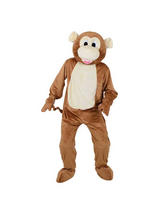 Men's Brown Monkey Jumpsuit Costume