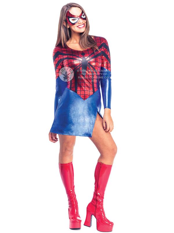 Adult-Spidergirl-Fancy-Dress-Costume-Superhero-Ladies-Womens-  sc 1 st  eBay & Adult Spidergirl Fancy Dress Costume Superhero Ladies Womens ...
