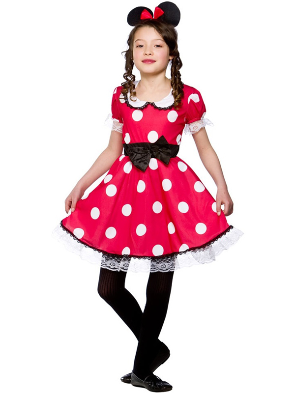 Filles-kid-cute-Minnie-Mouse-Costume-Robe-fantaisie-  sc 1 st  eBay & Girls Kid Cute Minnie Mouse Fancy Dress Costume Red White Polkadot ...