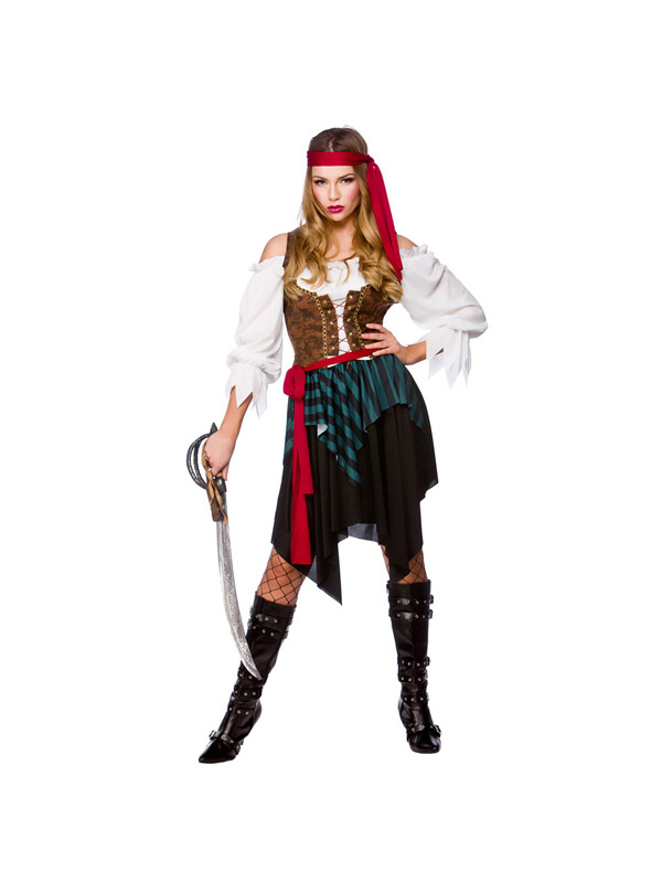 Ladies Caribbean Pirate Corset And Skirt Costume