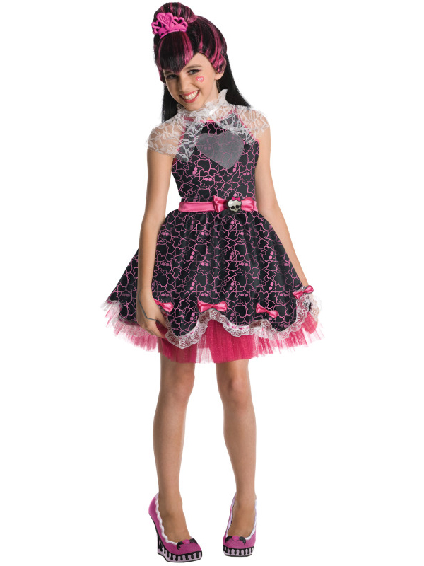 sentinel child monster high draculaura outfit fancy dress costume wig halloween girl kids