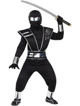Boy's Sliver And Black Ninja Warrior Costume