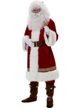 Super Deluxe Old Time Santa Suit With Hood Costume
