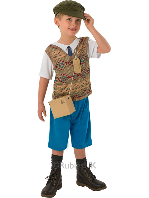 Child Evacuee Boy Costume Blue Trousers