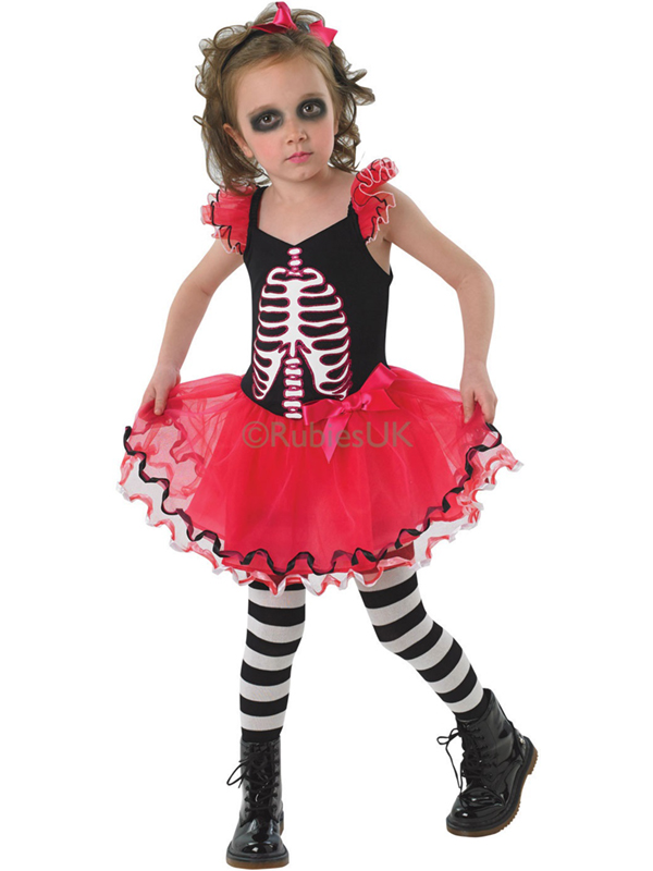 Child Girls Skull Tutu Dress Costume