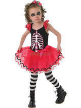 Child Girls Skull Tutu Dress Costume