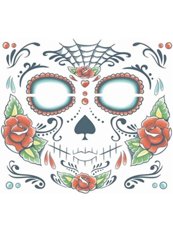 Sugar Skull Face Tattoo - Tinsley Transfers
