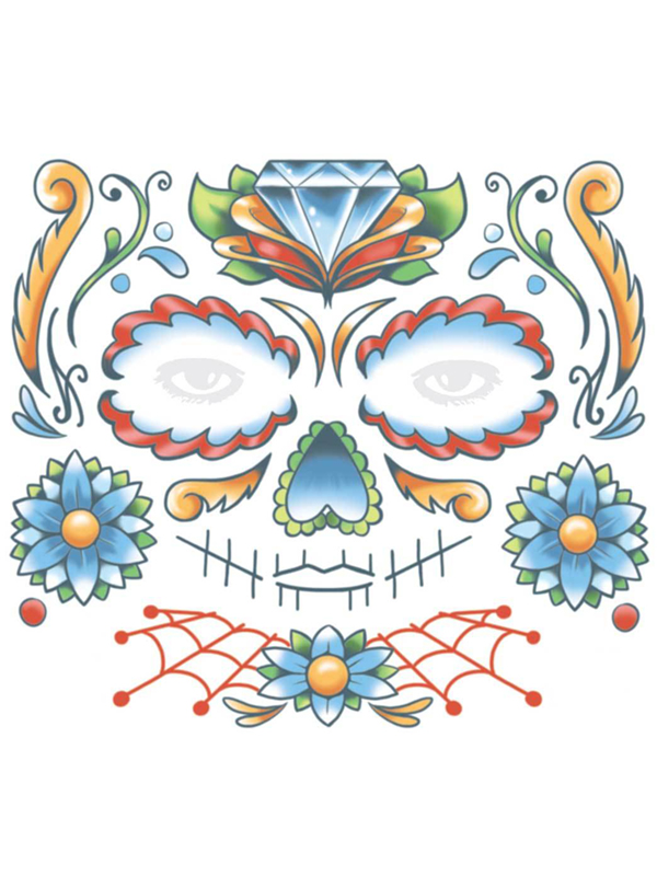Candy Skull Face Tattoo - Tinsley Transfers