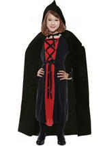 Child Black Velvet Hooded Cape