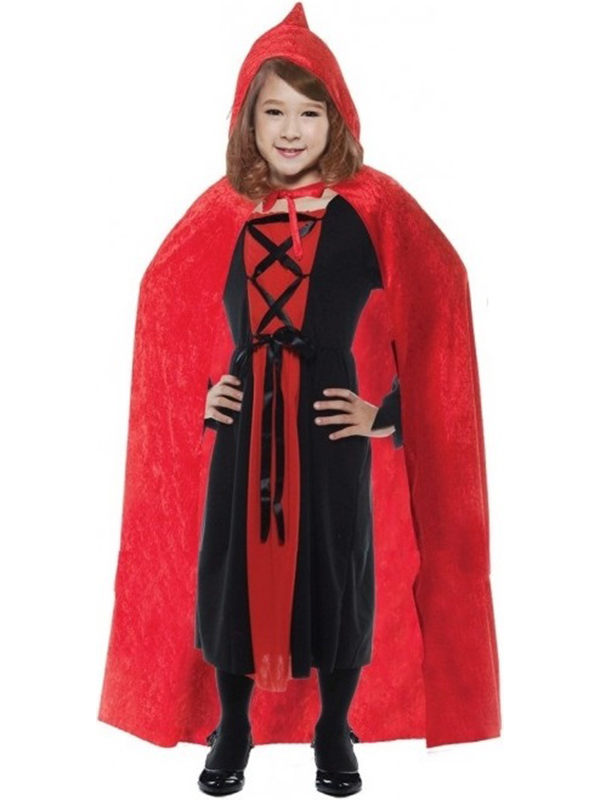 Child Red Velvet Hooded Cape